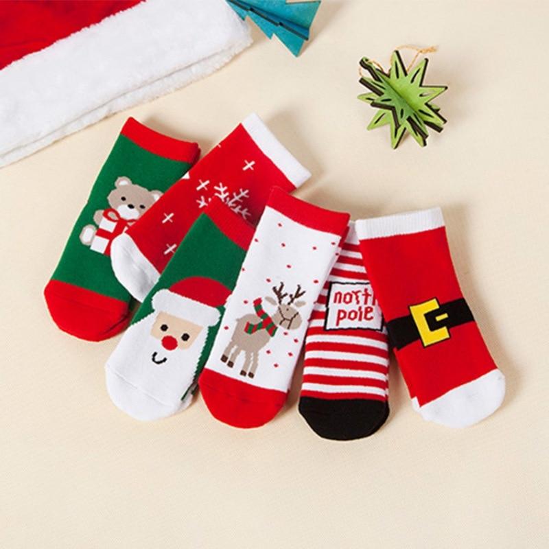 Winter Children Baby Kids Lovely Christmas Socks Baby Kids Girls Knee Cotton Socks For 1-10Y Babies Cute Christmas Sock Gift