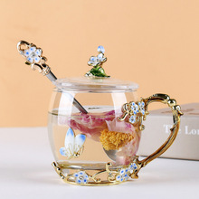 Creative enamel cup flower tea cup women's household glass water cup with cover set gift