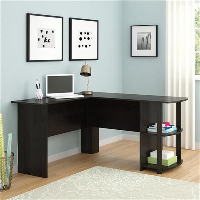 L-Shaped Wood Computer Desk w/ Two-layer Bookshelves  5