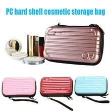 New Fashion 1 pc Mini Women Hard Shell Storage Cosmetic Bag Waterproof Two Zipper Handbag  Pouch O66