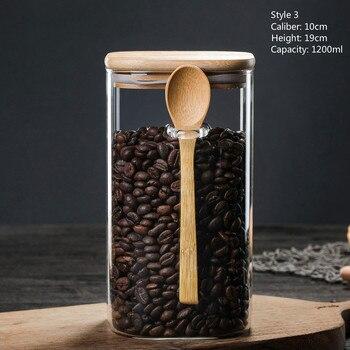 3 Ideas 800-1200ml with Spoon Sealed Jar Storage Tank Condiment Coffee Beans Tank Kitchen Supplies Sugar Storage Bottle Tea Box 9