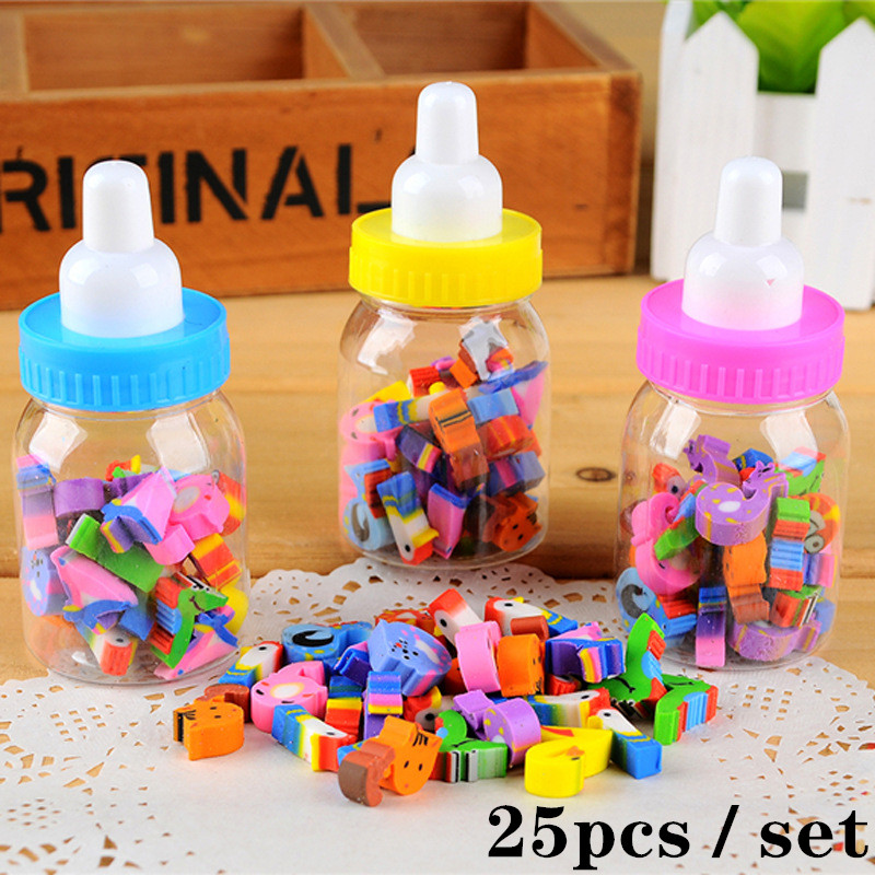 25pcs / Set Of Milk Can Eraser Digital Cartoon Rubber Bottle For Children Students Lovely Stationery Gifts For Students