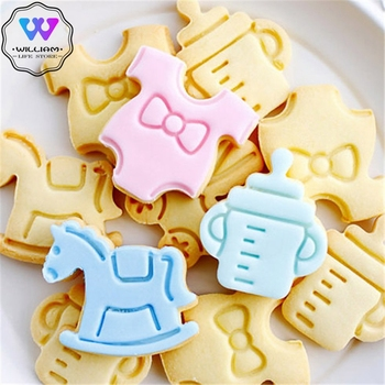 4Pcs/set Baby Type Plastic Baking Mold Kitchen Biscuit Cookie Cutter Pastry Plunger 3D Fondant Cake Decorating Tools