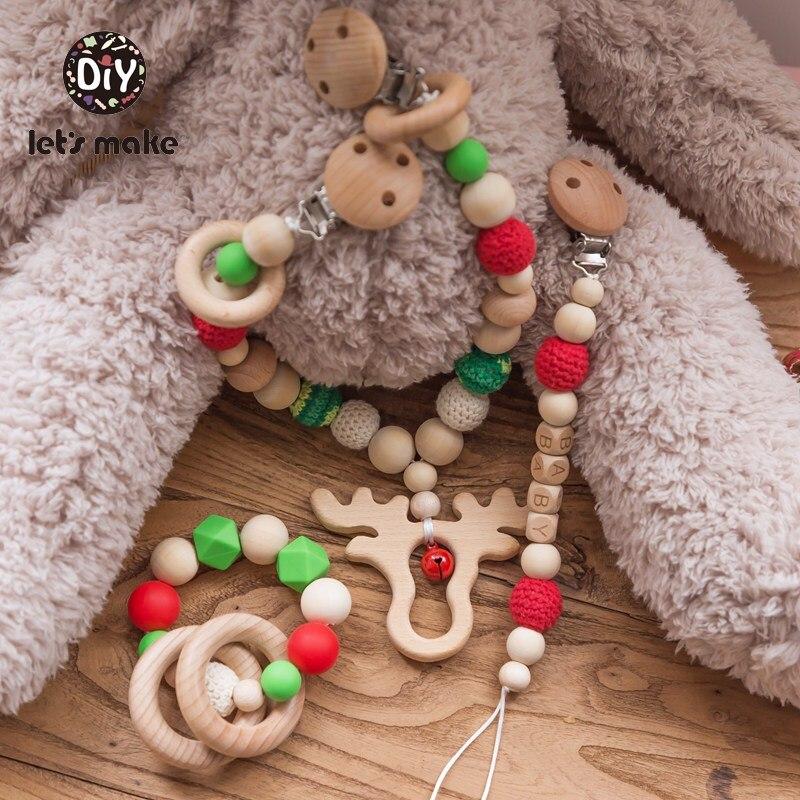 Let's Make Baby Toys Newborn Christmas Gift Elk Cart Chain Bracelet Pacifier Chain Custom Name Children Bed Bell Wooden Rattles