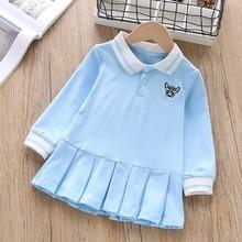 купить Baby Girl Dress 1-6T Lovely Toddler Children New Autumn Girls Cute Cartoon Print Lapel Princess Long-Sleeved Sweet Dresses #m онлайн