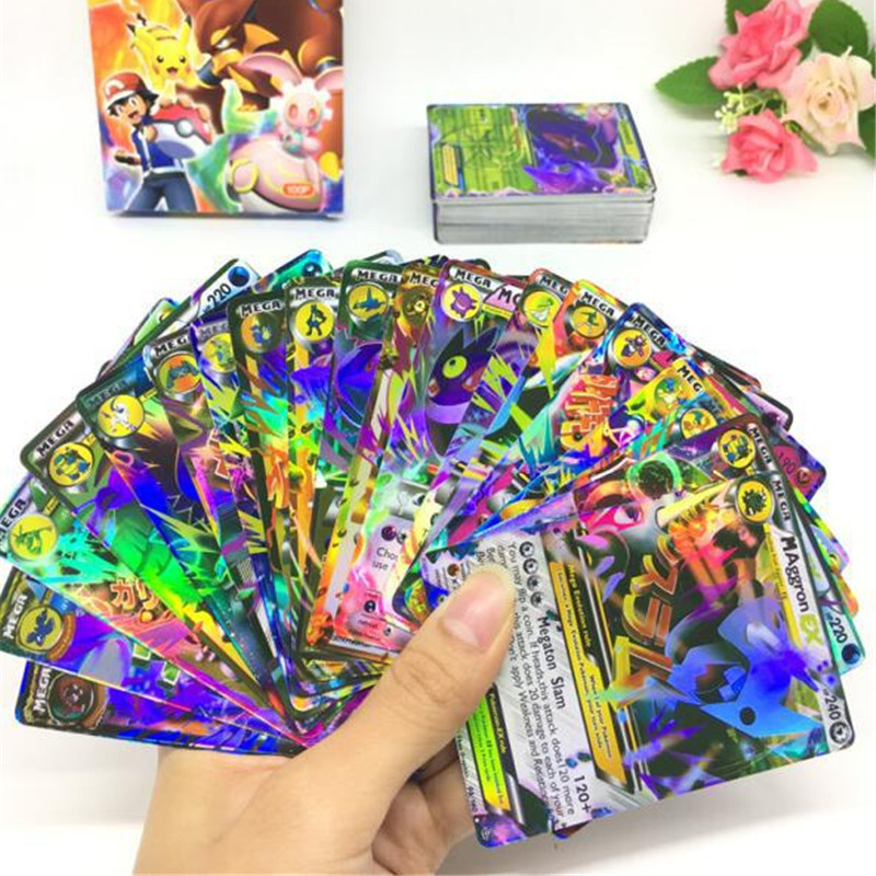 300Pcs/set No Repeat Shining TAKARA TOMY Trading Card Game Battle Carte English Pokemones GX EX MEGA Toy Boy Kids Gifts