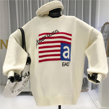 American Womens New Arrival Sweaters Long  O-Neck  Preppy Style  Letter Women Sweater and Pullovers 2019 Autumn Winter new preppy style children s clothing spring autumn winter long sleeve sweater cardigan boys cotton v neck solid kids sweaters