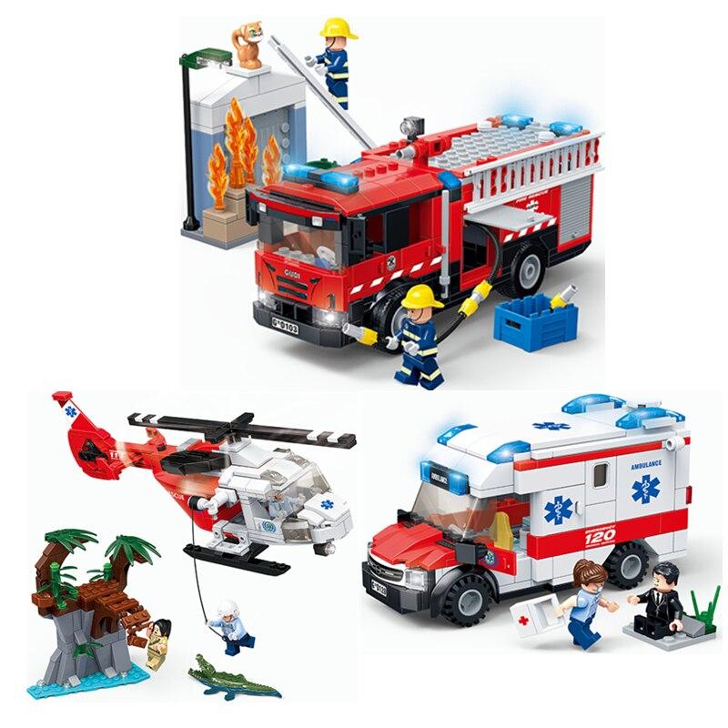 Nova cidade médica ambulância resgate helicóptero de emergência caminhão de bombeiros blocos de construção define tijolos brinquedos educativos para crianças presente