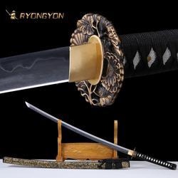 RYONGYON Handmade Katana Real Sword Sharp Samurai Sword Genuine Japan Ninja Sword T10 steel Full Tang Clay Tempered Blade 614