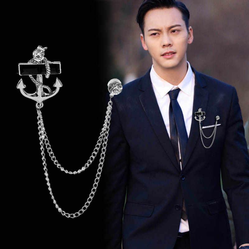 Kore moda yeni püskül çapa broş zincir saçaklı Metal broş yaka Pin rozeti erkek takım elbise erkek aksesuarları