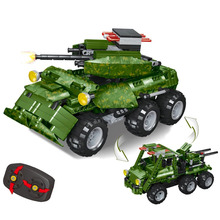 587Pcs 2.4G DIY Assembly RC Transformable Tank Model Building Block Kit With Two Kinds Of Model