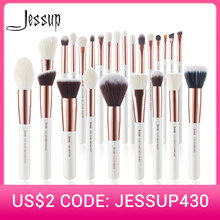 Jessup Make-Up Kwasten Set 6-25Pcs Pearl White / Rose Gold Professionele Make Up Borstel Natuurlijke Haar Foundation poeder Blushes