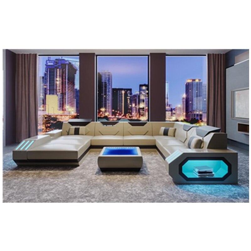 hot sales living room corner sofa luxury design leather sofa set with led light