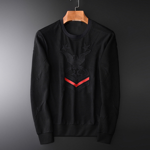 Image 1 - Minglu Jacquard Men Sweatshirts Luxury Fashion Embroidery Sweatshirt Male Plus Size 4xl Round Collar Slim Fit Sweatshirt Men