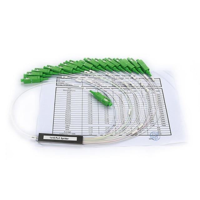 10 pièces/lot 0.9mm Tube en acier fibre optique PLC séparateur 1x16 SC/APC Mini sans blocage 1*16 SC APC connecteur