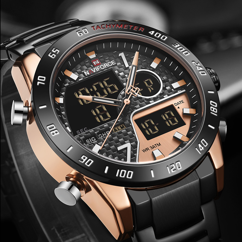 Man Watch 2019 Black LED Digital Male Watch The Waterproof Water Naviforce Men's Wrist Watches Luxury Design Quartz Watch Men