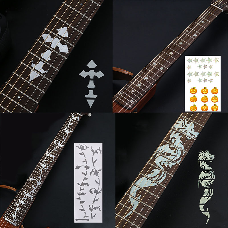 Guitar Fretboard Stickers Guitar Accessories Tool Cross Inlay Decals UltraThin Sticker For Electric Acoustic Guitar Bass Ukulele