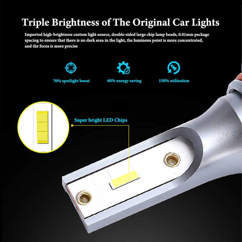 Lymoyo 2 Pcs H4 Mobil LED Headlight H1 H4 H11 9005 HB3 H7 9012 Bohlam LED CSP 10000LM 6000K ukuran Mini Lampu Mobil Lampu Bohlam LED Putih