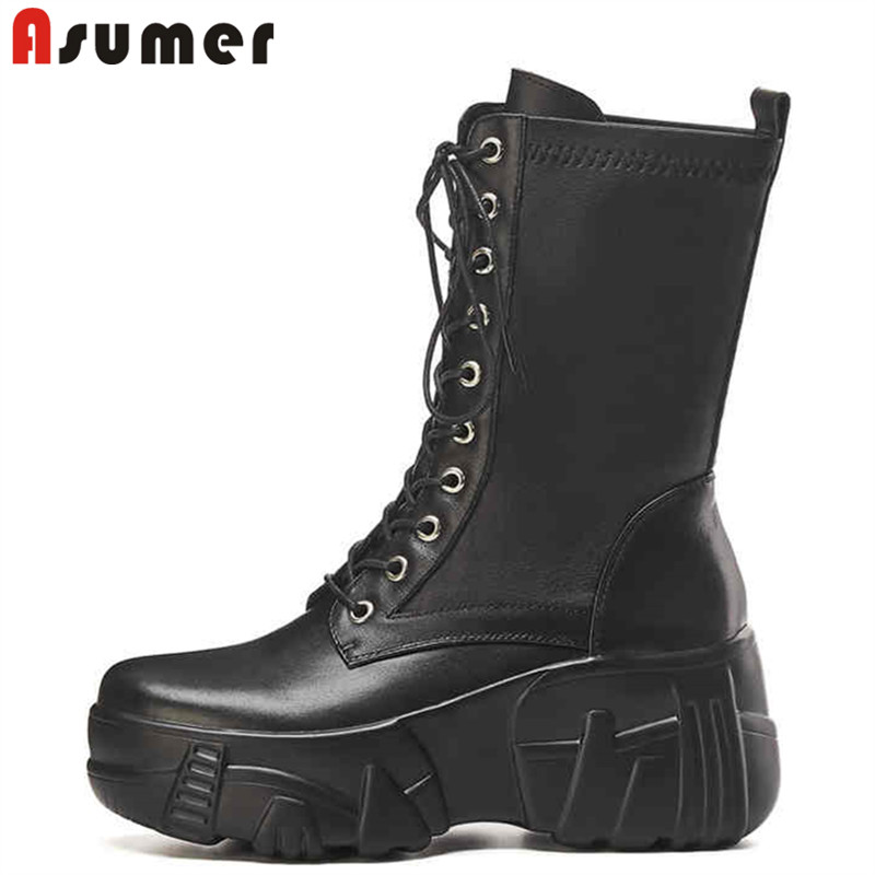ASUMER Platform-Boots Casual-Shoes Comfortable Thick Genuine-Leather Women Lace-Up Ankle