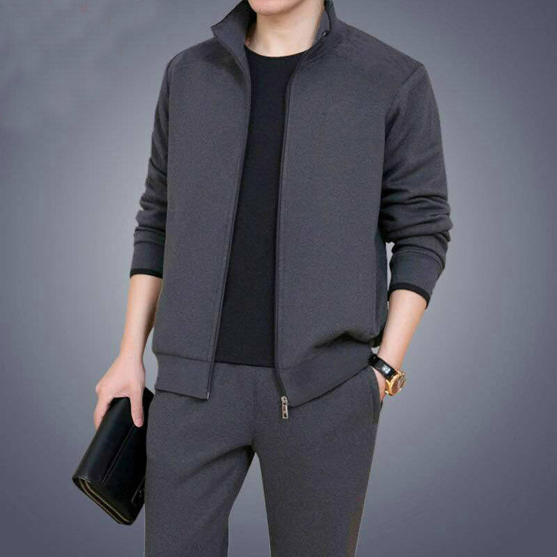 Man Leisure Long Sleeve Trousers Suit Teenagers Male Twinset Soild Color Warm Sweatershirt Set Casual Men Tracksuit 2pc Sets