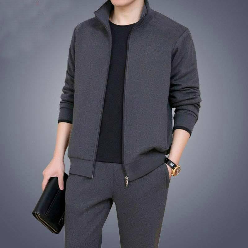Man Leisure Long Sleeve Trousers Suit Teenagers Male Twinset Soild Color Warm Sweatershirt Set Casual Men Tracksuit 2pc Sets