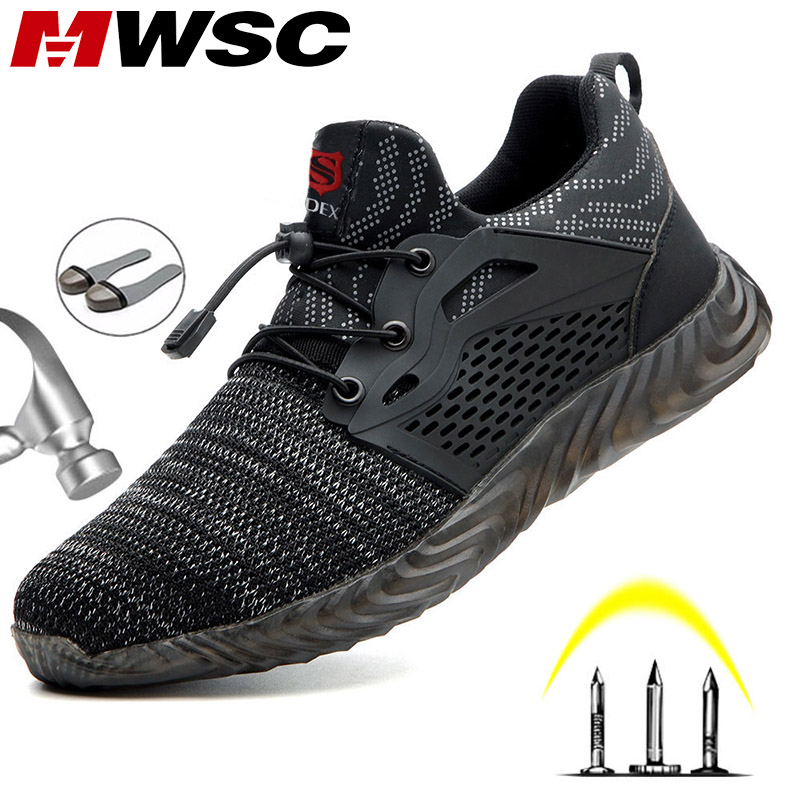 MWSC Safety Work <font><b>Shoes</b></font> Boots For <font><b>Men</b></font> Light Weight Steel Toe Work Boots Male Anti-smashing Construction Safety Sneakers Plus Size image