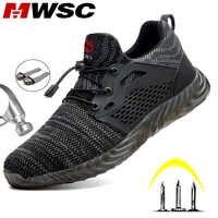 MWSC chaussures de travail de sécurité bottes pour hommes léger en acier orteil bottes de travail mâle Anti-fracassant Construction de sécurité baskets grande taille