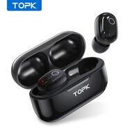 TOPK-auriculares inalámbricos T12 con Bluetooth, dispositivos de audio compatibles con Control táctil, estéreo 3D, para videojuegos, deportivos, con batería
