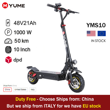 """YUME S10 10"""" Rear Motor 1000W Off-Road Tires Up to 30Miles&30mph Foldable Electric Scooter EU/US warehouse for sale 1"""