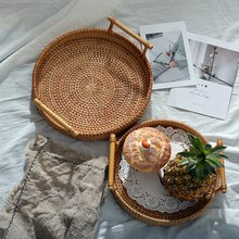 Rattan Woven Storage Tray Kitchen Fruit Dessert Plate Organizer Handmade Snack Tray Desktop Storage Basket Sundries Organizer
