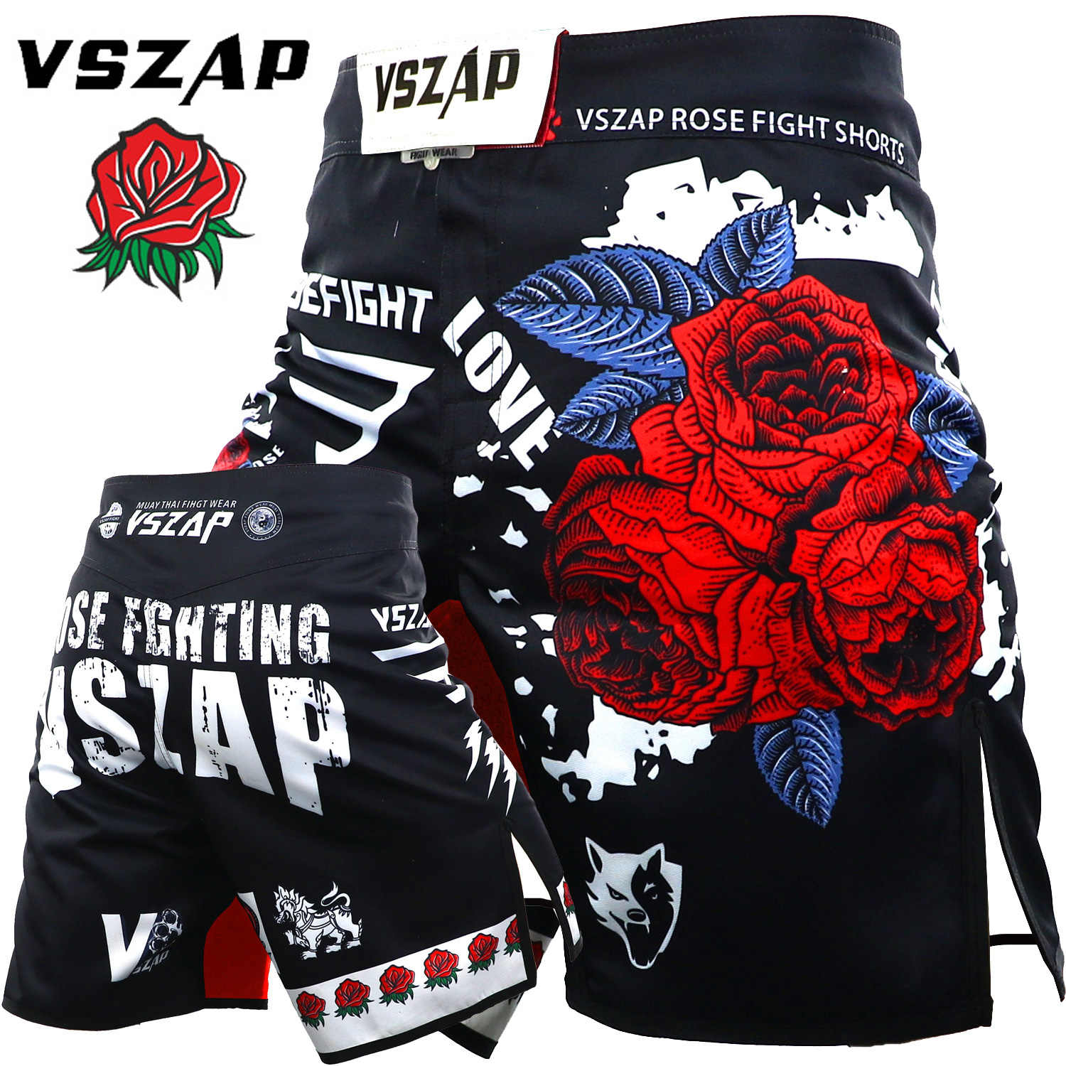 Vszap Rose Mma Shorts Kick Boksen Muay Thai Shorts Trunks Bjj Training Fitness Shorts Sanda Boxe Strijd Dragen Grappling Mma broek