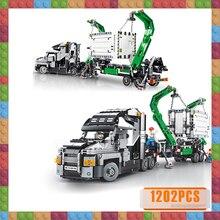 цена на 1202pcs Big Truck Mark Container Vehicles Car Building Blocks Toys City Engineering Block Compatible  Technic Bricks