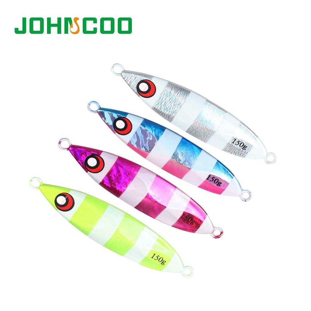 Johncoo Metal Jigging Lead Alloy Fishing Lure 3D Eyes Artificial Sea Fishing Glow Luminous 40/60/80/100g Fishing Bait