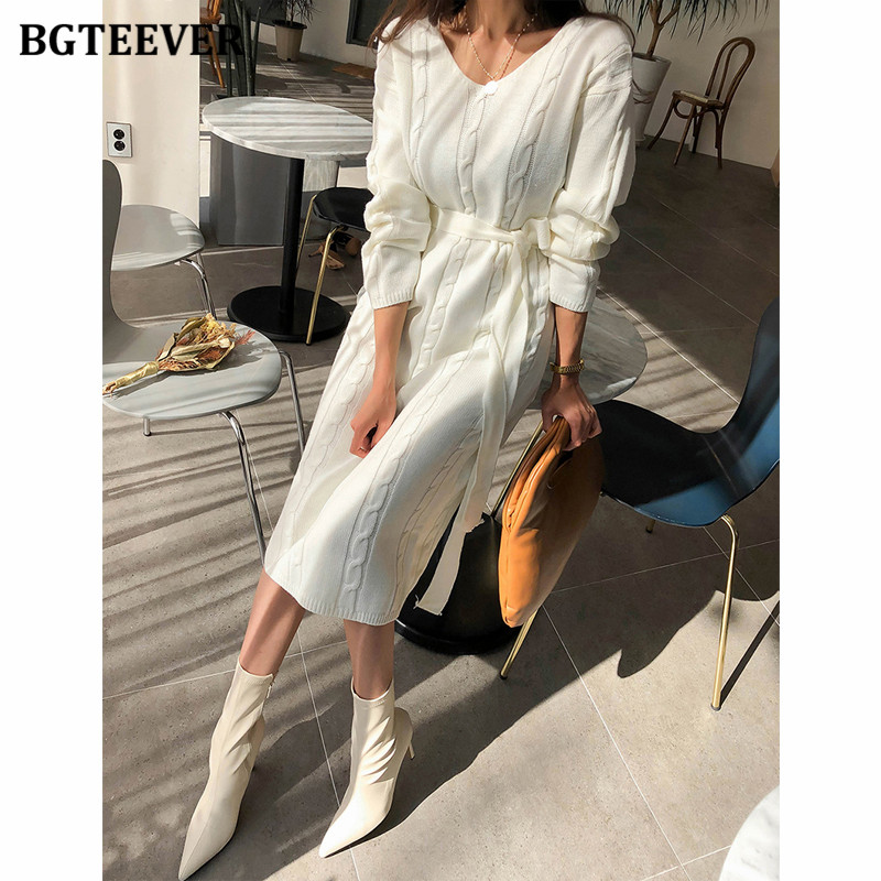 BGTEEVER Autumn Winter Thick V-neck MIdi Sweater Dress for Women Casual Full Sleeve Lace-up Female Knitted Dress Vestidos 2020