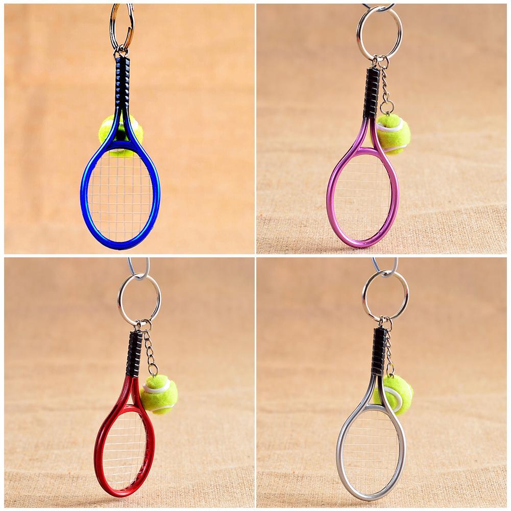 Mini Metal Tennis Racket Handmade Souvenir Cute Tenis Racquet Ball Key Chain Key Sports Chain Car Bike Key Ring Novelty Gift
