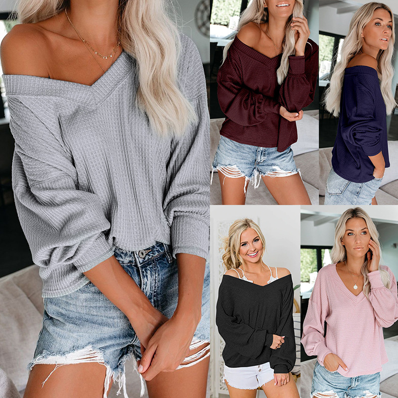 Sexy Off Puff Sleeve  Oversized  Women Deep V-neck Soft  Pullover Autumn  Casual Solid Winter Lady Jumper