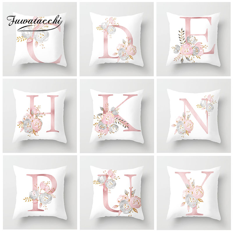 Fuwatacchi English Alphabet Cushion Cover Pink Flower Printed Pillow Cover For Sofa Home Kids Room Car Decoration Pillowcase