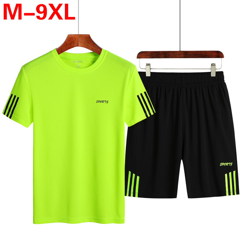 Plus Size 7XL 8XL 9XL Mens Two Piece Sets Top Shorts Sweatsuit Men Tracksuit Training Sportwear Man Tee Shirt Summer Clothing