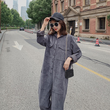 Fashion Woman Grey Corduroy Overalls Autumn Casual Multi-pocket Loose