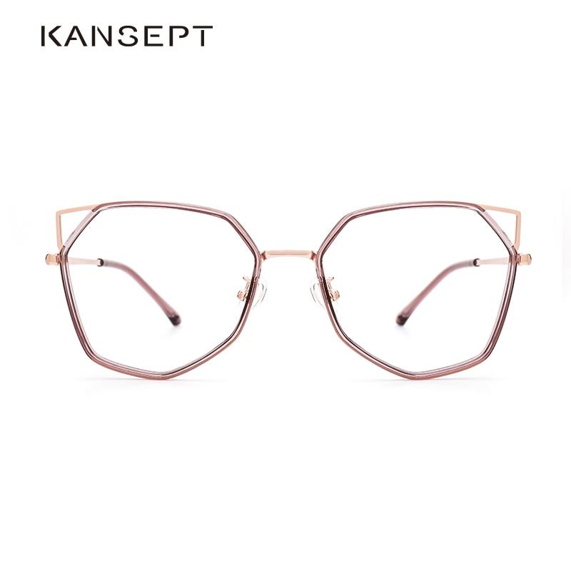 KANSEPT Women Cat Ear Glasses Frame Retro Polygonal Personalized Optical Spectacles Frame High Quality Myopia Eyewear Frame