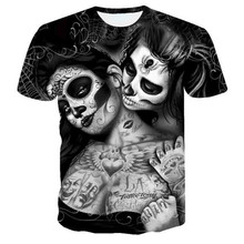 Masked 2021 new 3D Skull t-shirt Print Peking Opera Summer Tops Casual Tees Short Sleeve Streetwear Gothic Halloween