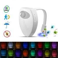 USB recargable baño Sensor de movimiento de luz 16 cambio de color LED Sensor de baño de luz de la noche de interior inodoro para baño lámpara