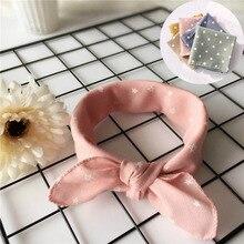 Fashion Kids Square Scarf Cotton Linen Star Dot Print Neckerchief Girls Boys Soft Tiny Triangle