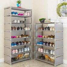 Многослойная полка для обуви из нетканых материалов стальная труба Простая установка домашний шкаф для обуви Органайзер для хранения на полке подставка держатель Экономия пространства
