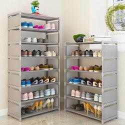 Multi camada sapato cremalheira não tecidos tubulação de aço fácil de instalar casa sapato armário prateleira armazenamento organizador suporte espaço titular economia