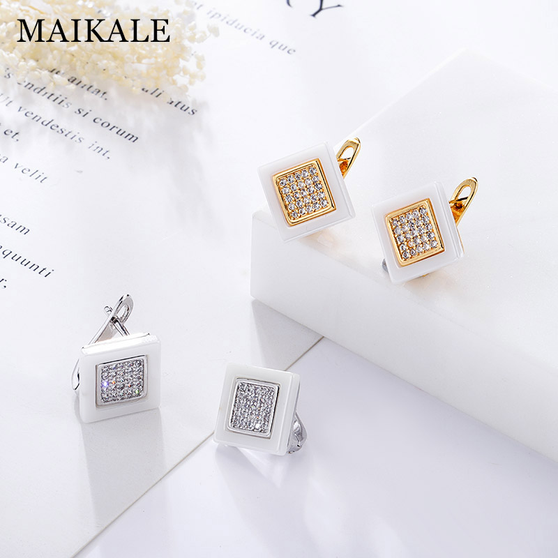 MAIKALE Classic Squar Ceramic Stud Earrings Copper Plated Gold AAA Cubic Zirconia High Quality Earrings For Women To Gift