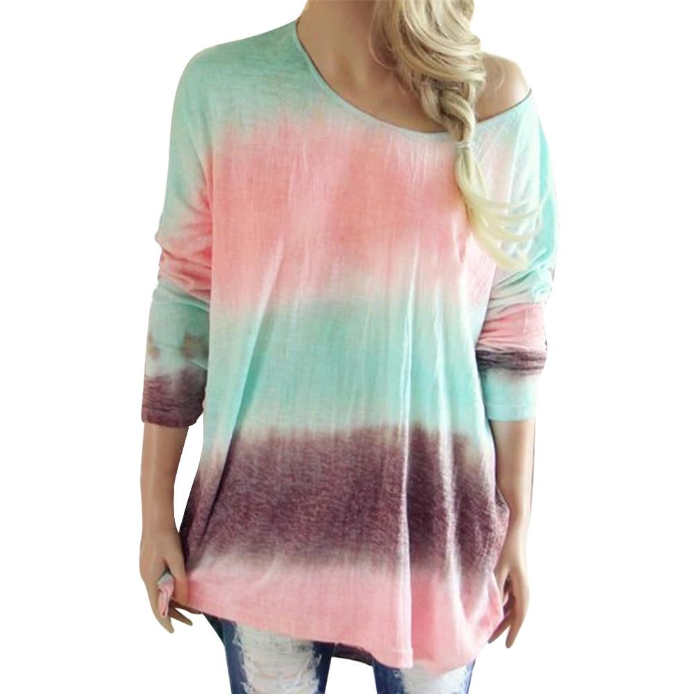 Color Print T-Shirts Women Casual V-Neck Long Sleeve Tops Autumn Fashion  Loose Streetwear T Shirt Female Clothing