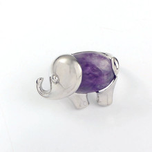 Kraft-beads Silver Plated Elephant Shape Natural Amethysts Stone Resizable Finger Ring Fashion Jewelry