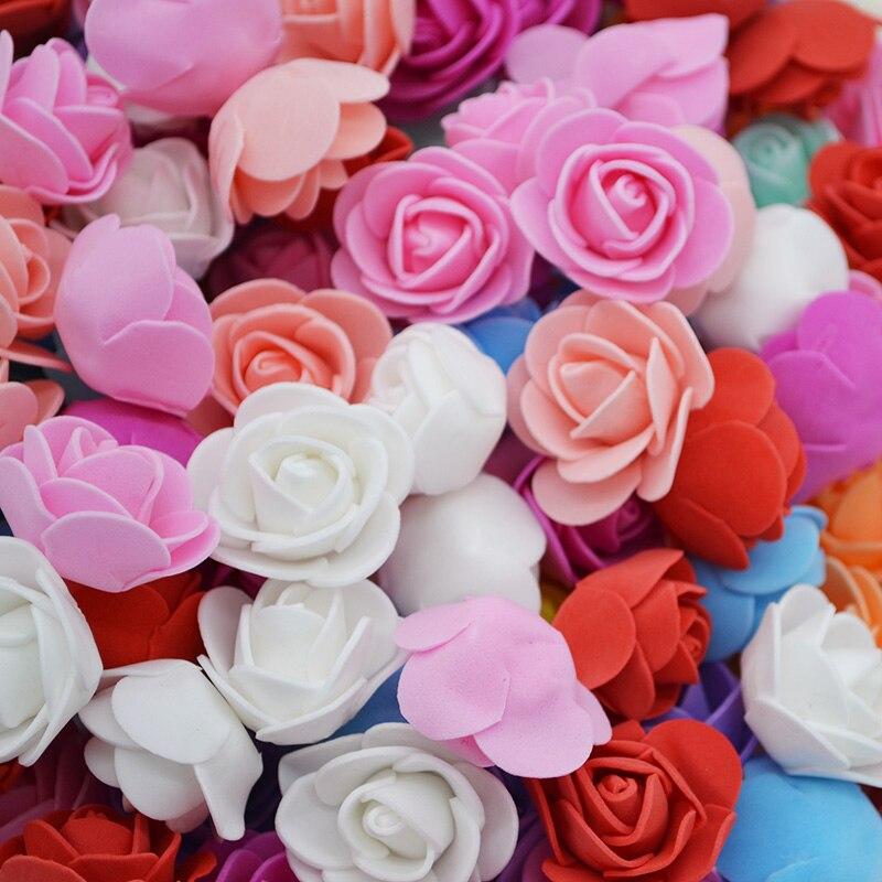 200 pçs 3.5cm mini pe espuma rosa artificial flores cabeças para festa diy grinaldas artesanato acessórios decoração de casamento flor artesanal
