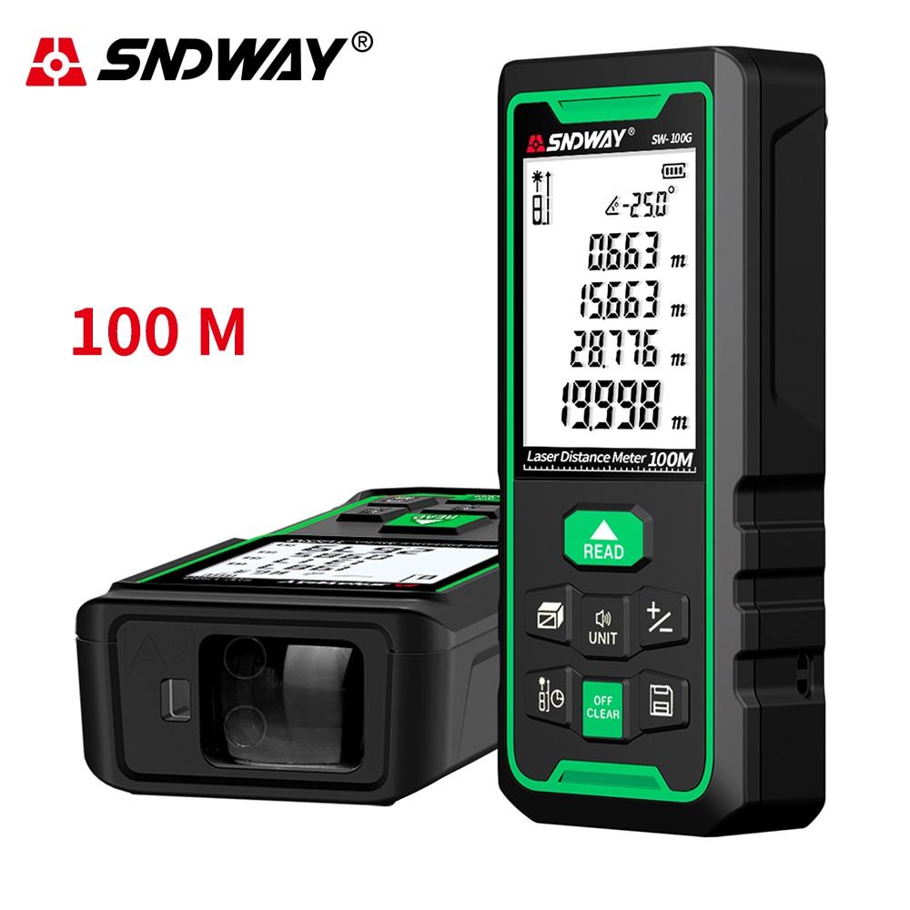 Sndway telêmetro eletrônico do laser da roleta 40m 50m 70m 100m 120m medidor de distância do laser digital trena lazer medida range finder